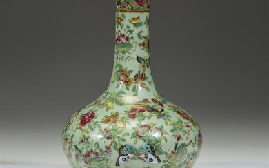 A Chinese export famille rose-decorated celadon-ground bottle vase mid...