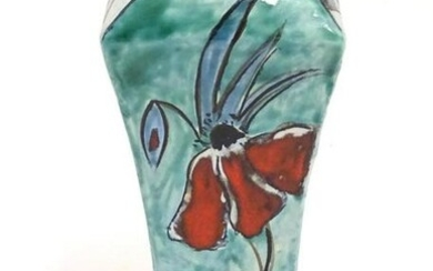 A Cobridge waisted vase of squared form with floral