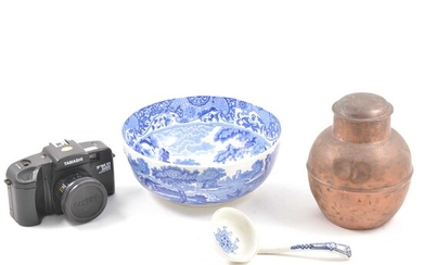 A Copeland Spode bowl and ladle, a copper urn with lid and a Tamashi S-1000F camera.