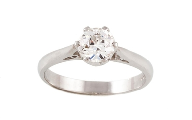 A DIAMOND SOLITAIRE RING, with one old European brilliant cu...