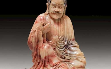 A FINE CARVING OF A SEATED LUOHAN.