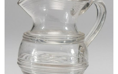 A Free Blown Glass Pitcher with Ring Decoration