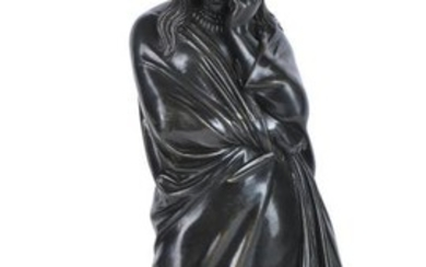 A French patinated bronze model of a maiden personifying Tragedy