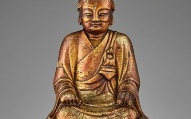 A GILT WOOD STATUE OF A LUOHAN, MING DYNASTY