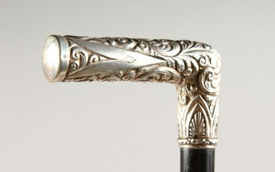 A GOOD SILVER HANDLED WALKING STICK with acanthus