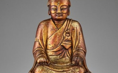 A LACQUER GILT WOOD STATUE OF A LUOHAN,...