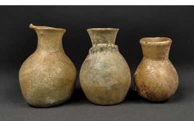 A LOT OF ROMAN GLASS FLASKS (3)