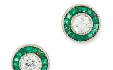 A PAIR OF DIAMOND AND EMERALD TARGET EARRINGS each set