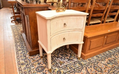 A PAIR OF GUSTAVIAN STYLE PAINTED BEDSIDE TABLES
