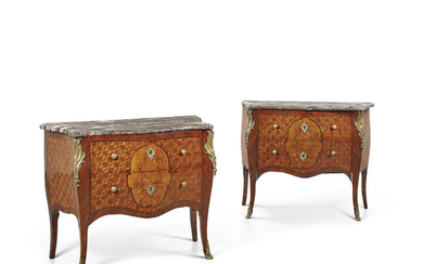 A PAIR OF LOUIS XV-STYLE ORMOLU-MOUNTED KINGWOOD, TULIPWOOD, AMARANTH AND MARQUETRY COMMODES, EARLY 20TH CENTURY