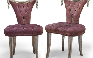 A PAIR OF SILVERED SIDE CHAIRS, MID-20TH CENTURY, ATTRIBUTED TO SYRIE MAUGHAM