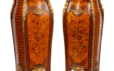 A Pair of Louis XV Style Gilt Metal Mounted Marquetry Pedestals