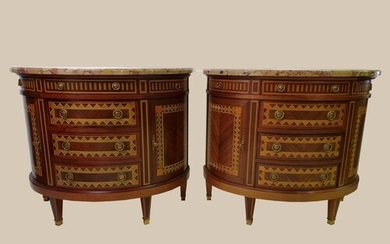 A QUALITY PAIR OF MID 20TH CENTURY CHESTS / CABINETS, curved...