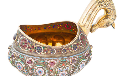 A RUSSIAN FABERGE-STYLE SILVER AND SHADED CLOISONNE ENAMEL KOVSH, LATE 20TH CENTURY