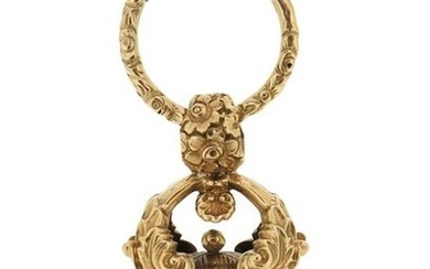 A Regency gold fob seal, with foliate decoration...