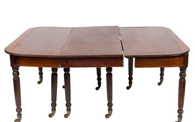 A Regency mahogany and brass inlaid extending dining table:,...