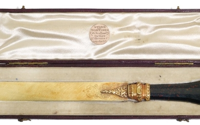 A SILVER-GILT PAPER KNIFE WITH BLOODSTONE HANDLE, RETAILED BY STORR & MORTIMER, CIRCA 1840