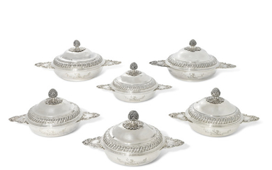 A SUITE OF SIX VICTORIAN AND GEORGE V SILVER ENTREE DISHES AND COVERS, ONE WITH MARK OF MARTIN HALL AND COMPANY, SHEFFIELD, 1899; FOUR WITH MARK OF MOSS MORRIS, LONDON, 1911; ONE WITH 18TH CENTURY FRENCH SPURIOUS MARKS FOR PIERRE PONTUS, LILLE