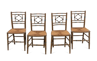 A Set of Four Victorian Style Painted Side Chairs