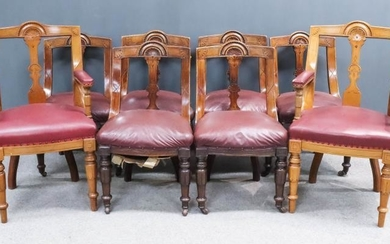 A Set of Six Late Victorian Walnut Dining Chairs,...