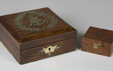 A Victorian walnut and brass mounted box, enclosing a selection of gaming counters and whist markers