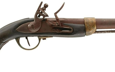 A WORN FRENCH FLINTLOCK SERVICE PISTOL, together with a