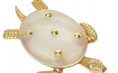 A diamond and white chalcedony turtle brooch,...