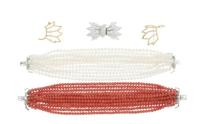 A diamond, coral and cultured pearl suite