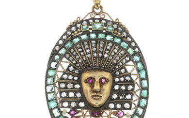 A gold Egyptian Revival rose-cut diamond, ruby, emerald and seed pearl pendant.