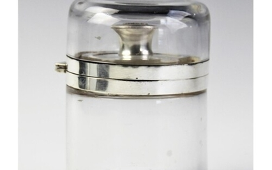 A large Victorian silver mounted glass vanity jar by Goldsmi...