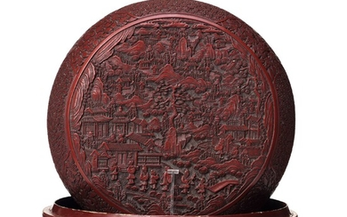 A large red box with cover, Qing dynasty (1664-1912).