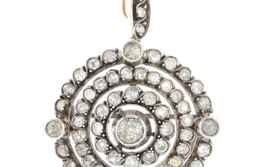 A late Victorian silver and gold old-cut diamond brooch/pendant with chain.