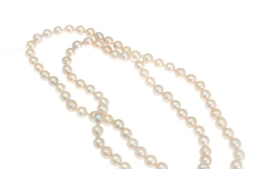 A long pearl necklace with no clasp of numerous cultured pearls. Pearl diam. app. 12 mm. L. 114 cm.