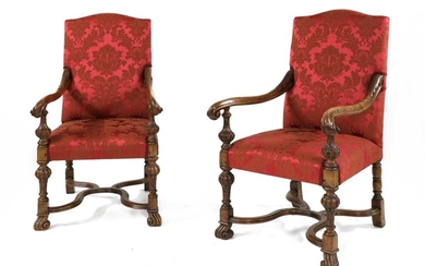 A pair of Continental oak side chairs