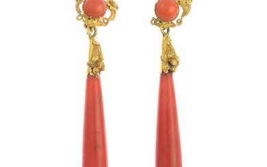 A pair of early to mid 19th century gold coral drop earrings.