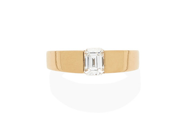 A rose gold and diamond solitaire ring