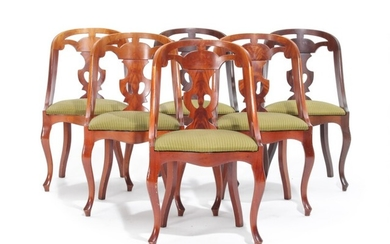 A set of six 20th century Biedermeier style mahogany chairs with curved backs and cabriole legs. (6)