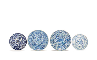 A small collection of four blue and white 'floral' dishes