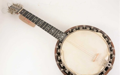 A 5 string Piccolo Zither banjo, seventeen frets, mother-of-pearl inlay to neck, 17cm full length.