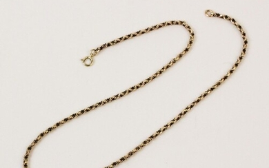 A yellow metal box-link chain, with spring ring fastener sta...