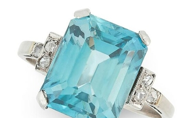 AN ART DECO BLUE ZIRCON AND DIAMOND RING in white gold