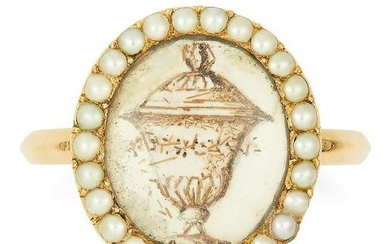 ANTIQUE ENAMEL MOURNING RING depicting an urn in white