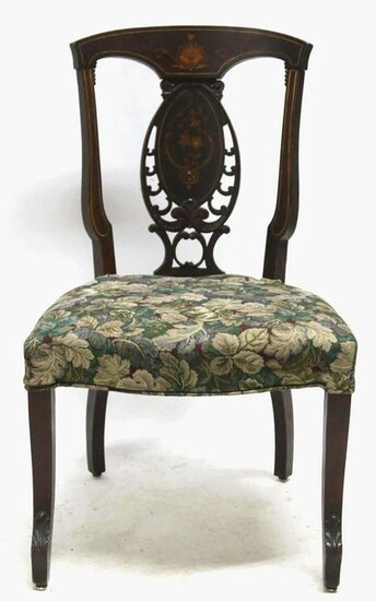 ANTIQUE ENGLISH MOTHER OF PEARL INLAID SIDE CHAIR