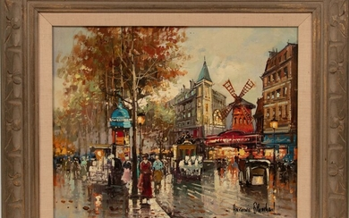 """AFTER ANTOINE BLANCHARD (FRENCH, 1910-88), OIL ON CANVAS, H 16"""", W 20"""", THE MOULIN ROUGE"""