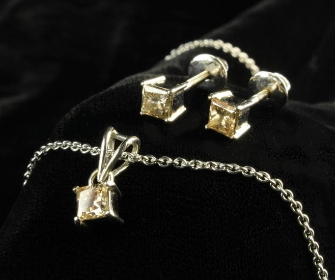 An 18 Carat White Gold & Diamond Single Stone Pendant on Chain with a Pair of Matching Stud Earrings