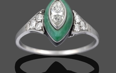 An Art Deco Jade, Onyx and Diamond Cluster Ring, the...