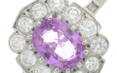 An oval-shape pink sapphire and brilliant-cut diamond cluster ring.