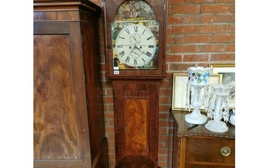 Antique Mahogany long cased clock, 8 day with painted face b...
