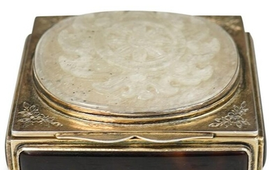 Antique Sterling Silver & Jade Box
