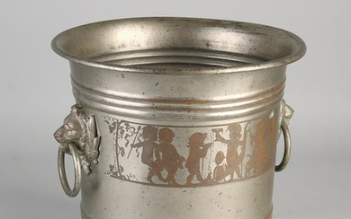 Antique historicism plated brass wine cooler Bacchae